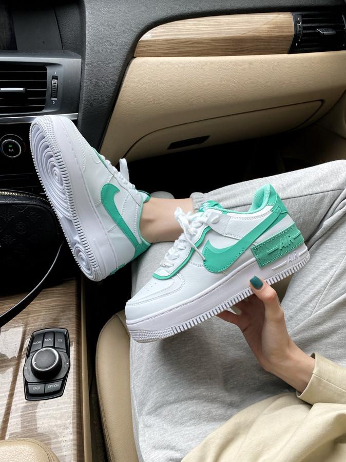Женские кроссовки Nike Air Force 1 Shadow White Green