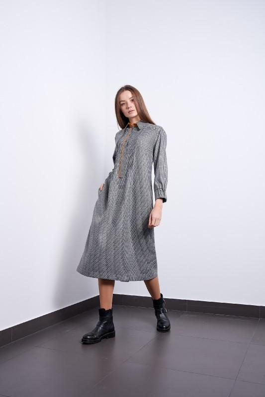 Сукня Надія сіре в клітку Modna KAZKA