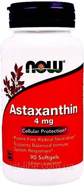 Now Foods, астаксантин, 4 мг, 90 капсул