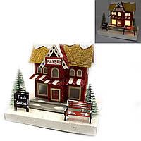 """Декор новогодний домик LED 3D фигура """"Bakery"""" 16,5х12,5х12см, 1шт/этик."""