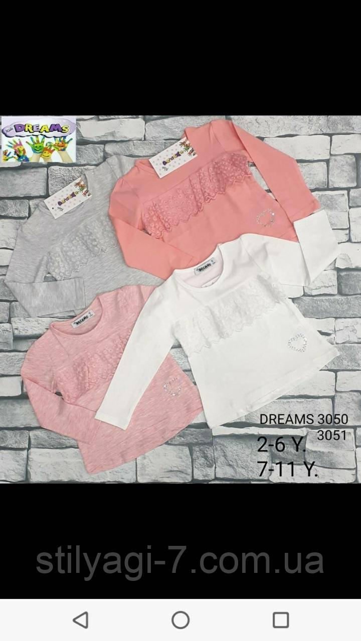 Батник для девочки на 2-6 лет розового, молочного, персикового, серого цвета с кружевом оптом
