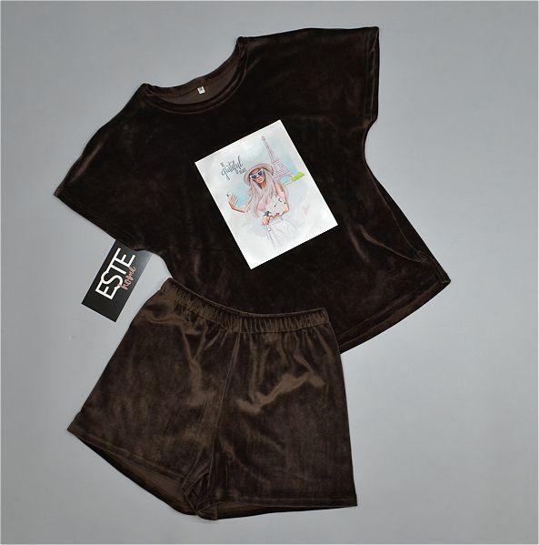 Пижама женская Este теплая велюровая с рисунком 401-1 шоколад.