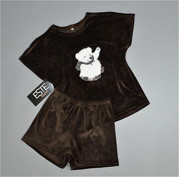 Пижама женская Este коричневая теплая с рисунком Мишка.