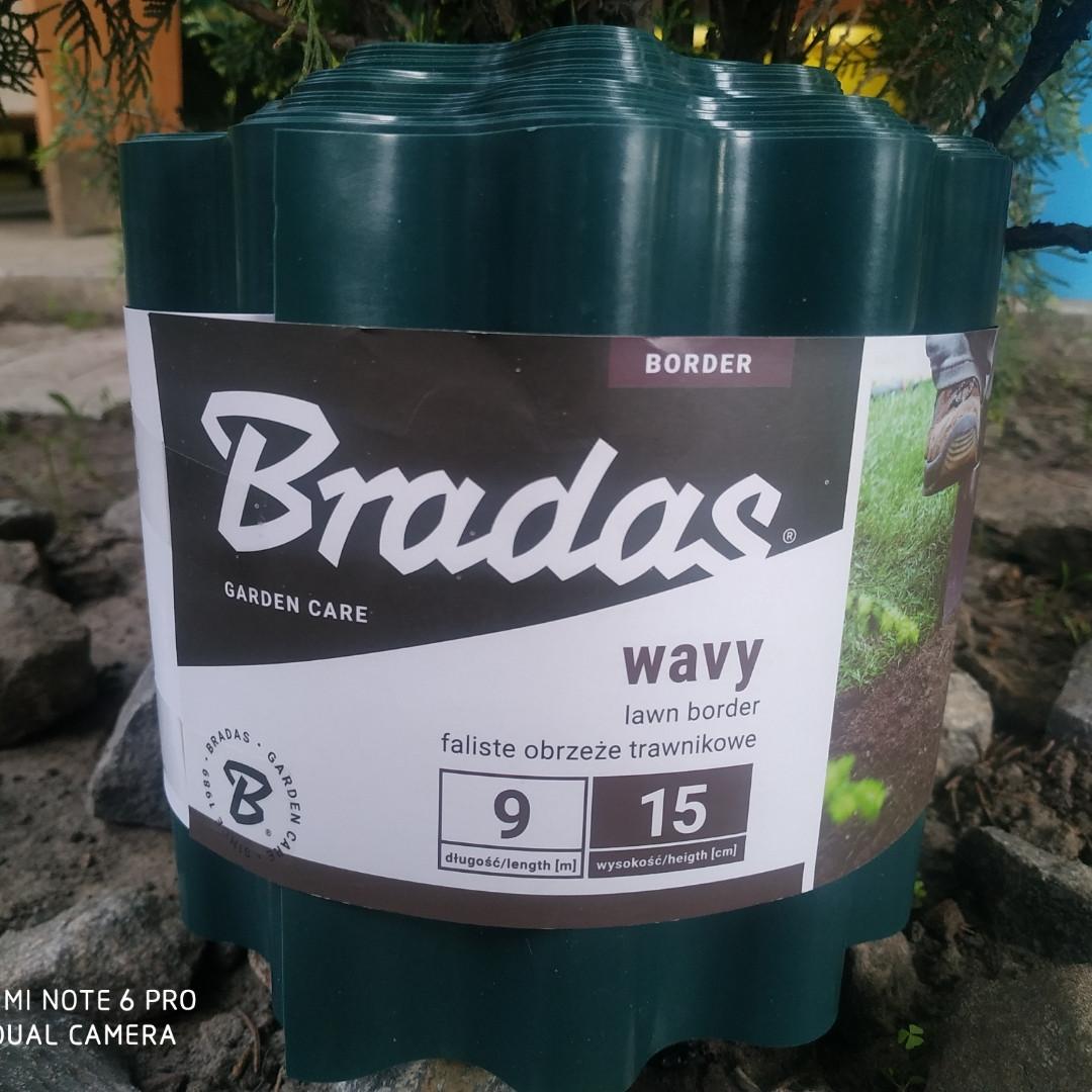 Бордюрная лента садовая волнистая зеленая Bradas 10см х 9м