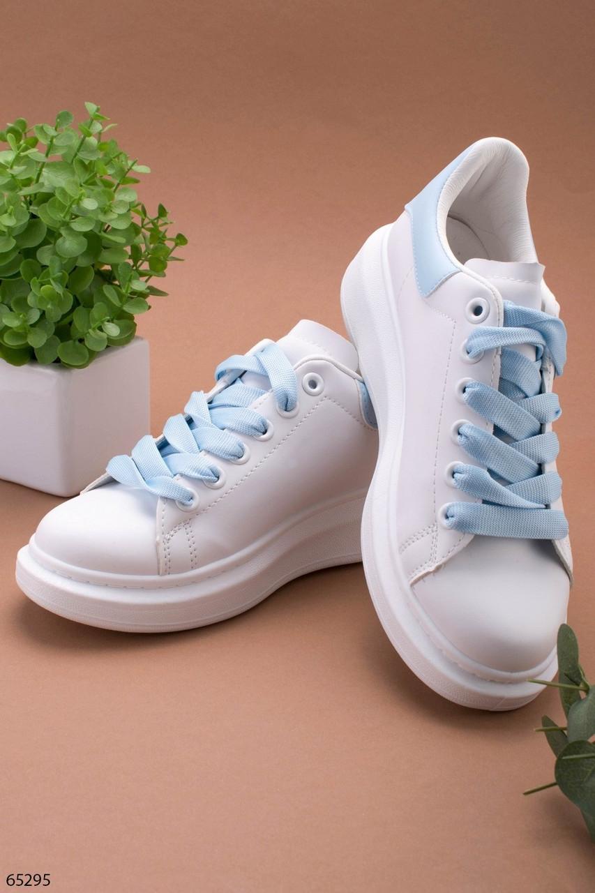 Стильные женские кроссовки белые с голубым эко-кожа весна / осень