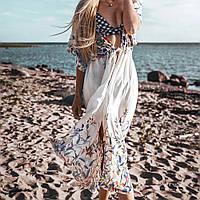 Новинка года! Размер 52-54! Красивая белая накидка на купальник, хлопковый женский пляжный халат, завязки.