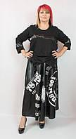 Модный женский костюм двойка Darkwin (Турция) 56 - 66 р, черный