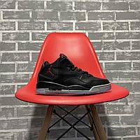 Баскетбольные кожаные кроссовки Nike Air Jordan 4 Black (Высокие кроссовки Найк Аир Джордан 4 черные)