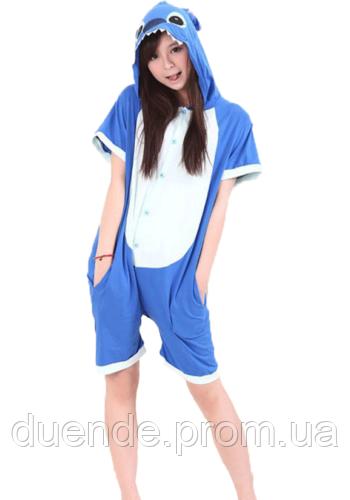 Кигуруми пижама Стич лето для взрослых, цвет синий  / Kig - 0056