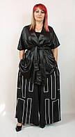 Модный женский костюм двойка Darkwin (Турция) 52 - 64 р, черный