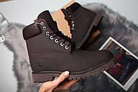 Зимние женские ботинки Timberland Brown (в стиле Тимберленд) Темно-коричневый
