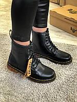 Женские зимние ботинки Dr. Martens 1460 Black / Доктор Мартенс черные натуральная кожа набивной мех