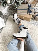 Женские зимние ботинки Dr. Martens 1460 White / Доктор Мартинс белые кожаные с мехом