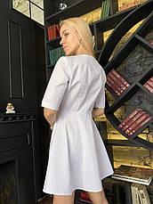 """Медичний халат """"Еліс"""". Білий. Рукав до ліктя. Саталь, фото 2"""