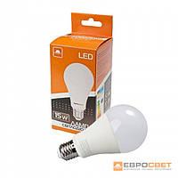 Світлодіодна ЛІД лампа Евросвет 15Вт колір світіння 3000К, цоколь E27, 220V,