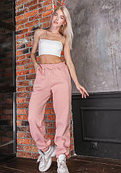 Утеплённые женские розовые спортивные штаны с завышенной талией