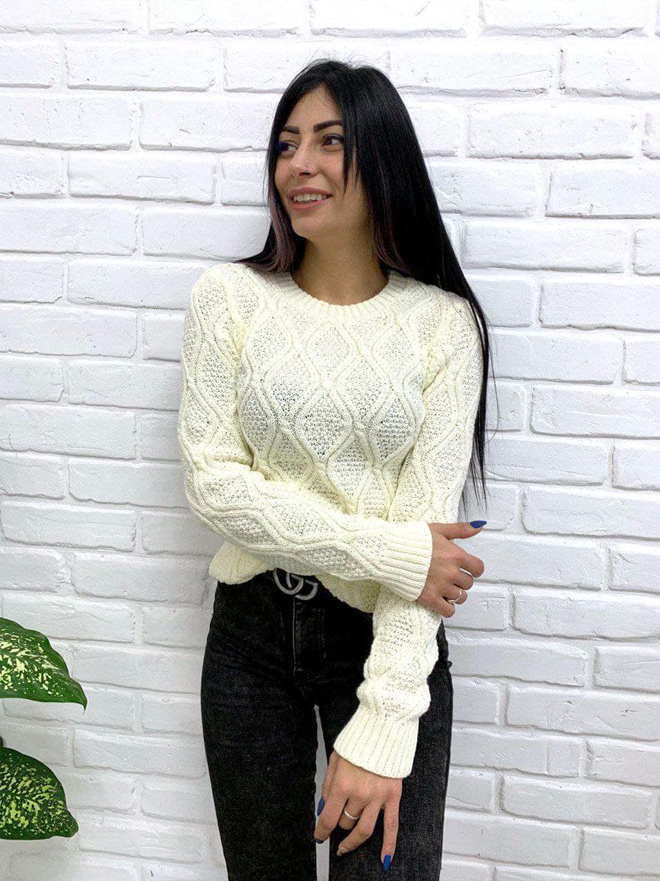 """Жіночий ажурний светр """"Плетінка"""", 42-48"""