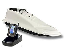 Кораблик для прикормки Фантом Белый с эхолотом Toslon TF500