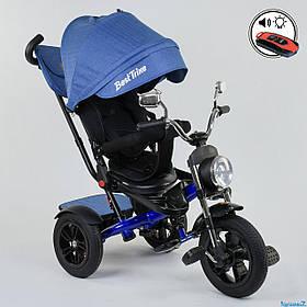 Велосипед триколісний Best Trike 4490-3525 Синій | Велосипед-коляска з батьківською ручкою
