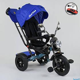 Велосипед триколісний Best Trike 4490-2761 Синій | Велосипед-коляска з батьківською ручкою