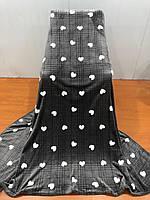 Плед-покрывало флисовый Тм Koloko сердечки 220*240 темно-серый