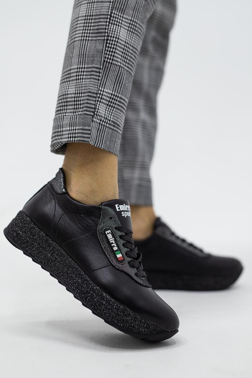 Женские кроссовки кожаные весна/осень черные Lions R20 Emirro Black Edition
