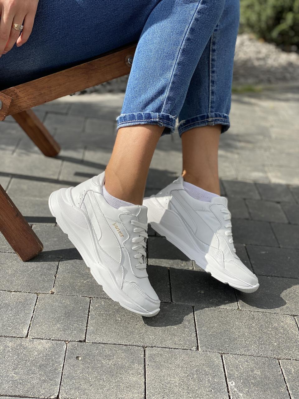 Жіночі кросівки шкіряні весна/осінь білі-сірі Yuves 778