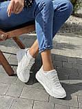Жіночі кросівки шкіряні весна/осінь білі-сірі Yuves 778, фото 3