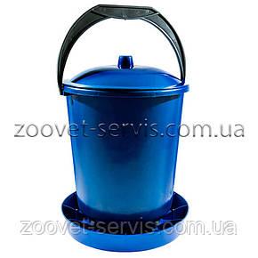 Бункерная кормушка 11,7л / 7,9 кг с крышкой для перепелов, бройлеров, кур несушек, индюков, уток и гусей, фото 2