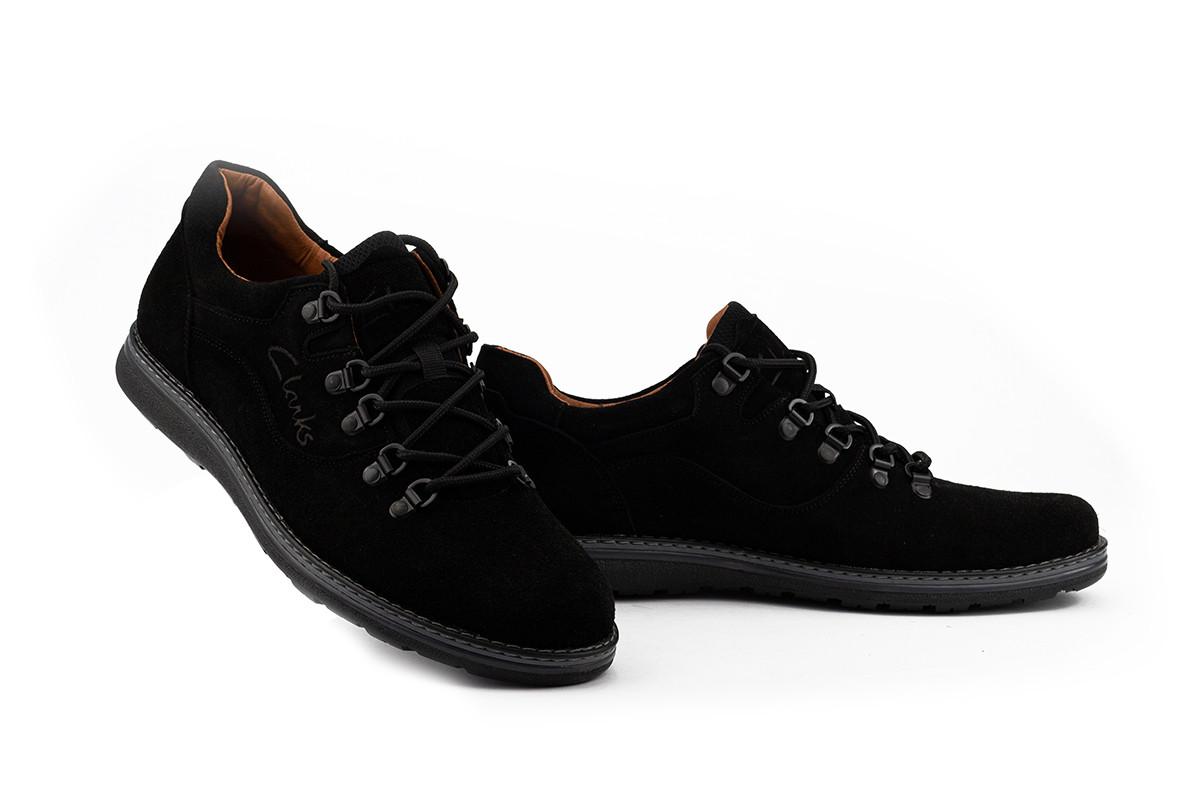 Чоловічі туфлі замшеві весна/осінь чорні Yuves 650