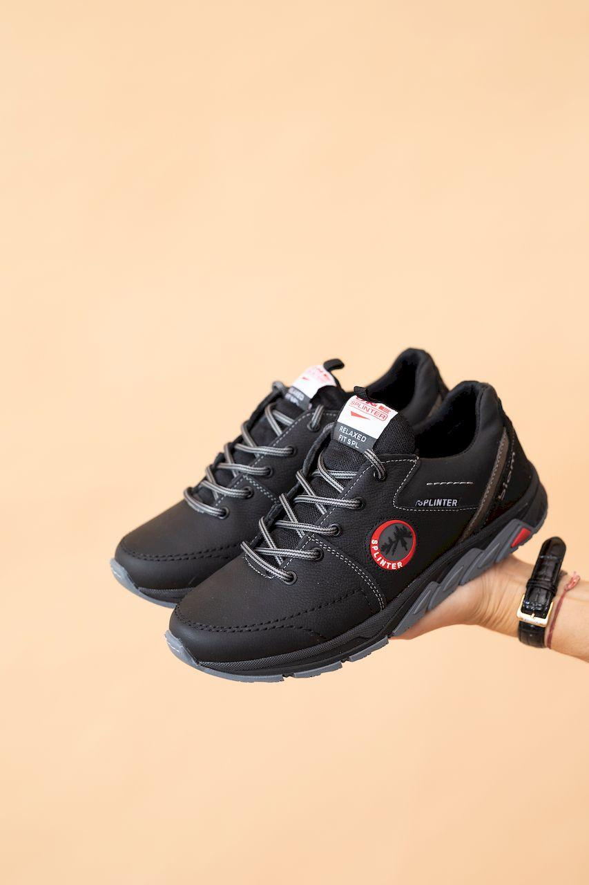 Подростковые кроссовки кожаные весна/осень черные Splinter Boy 1514