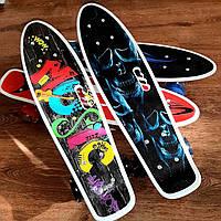 Скейт Пенни борд с ручкой Best Board, колеса PU светящиеся / дитячій пенні борд