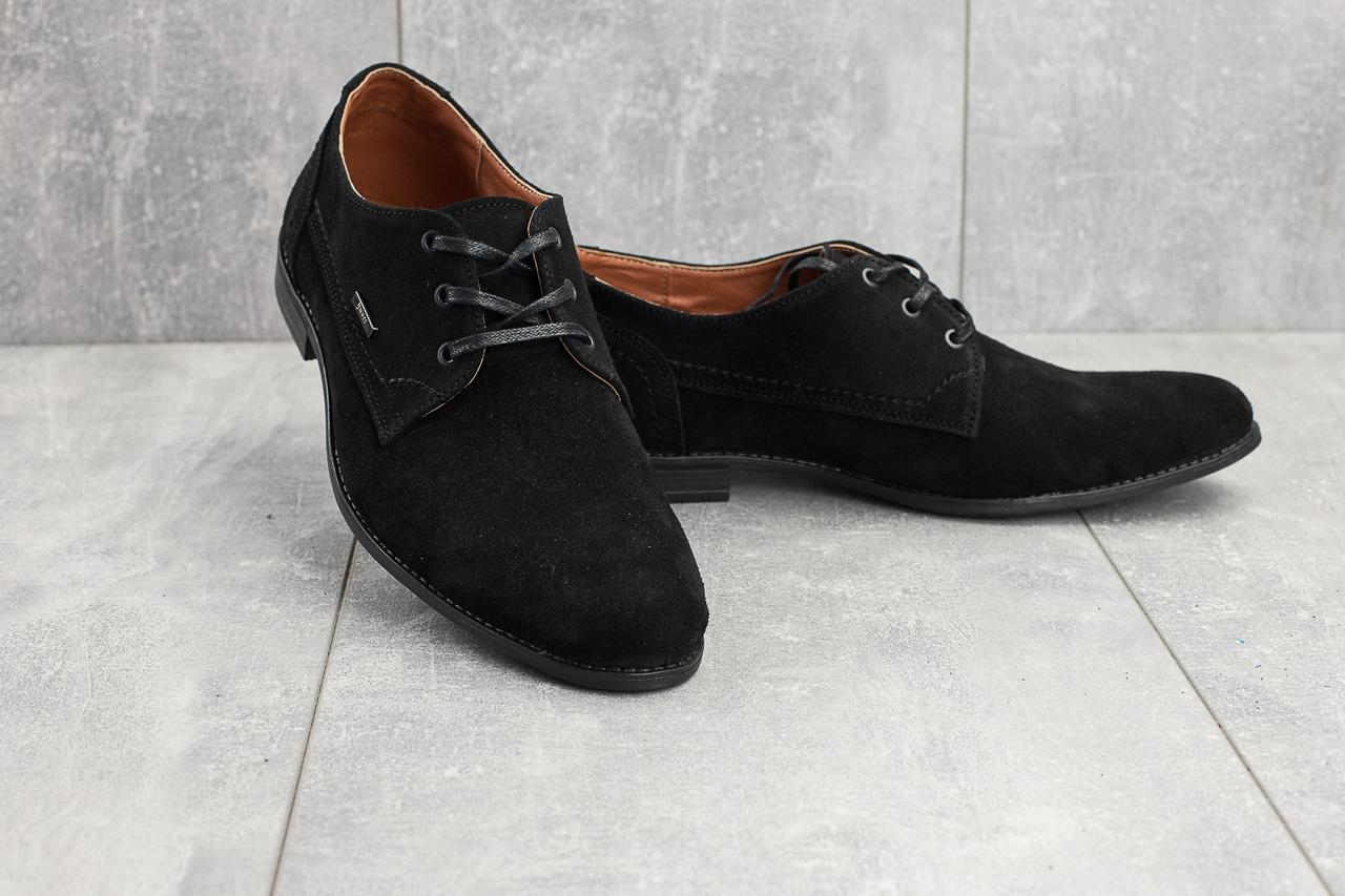 Чоловічі туфлі замшеві весна/осінь чорні Yuves М111