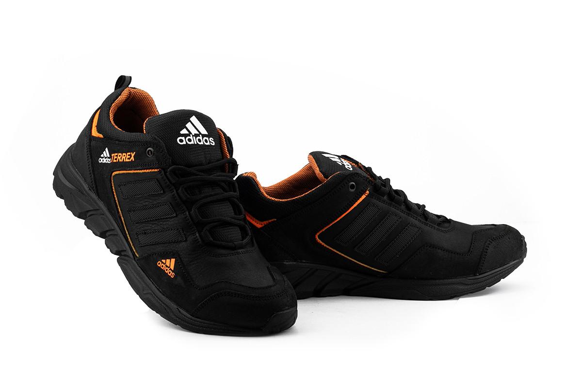 Чоловічі кросівки шкіряні весна/осінь чорні-помаранчеві ZNIK A3 Terrex