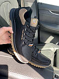 Чоловічі кросівки шкіряні весна/осінь чорні Splinter Trend 1219, фото 6