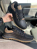 Чоловічі кросівки шкіряні весна/осінь чорні Splinter Trend 1219, фото 7