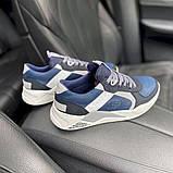Мужские кроссовки кожаные весна/осень синие-белые Splinter Isotex 0820, фото 6