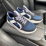 Мужские кроссовки кожаные весна/осень синие-белые Splinter Isotex 0820, фото 9