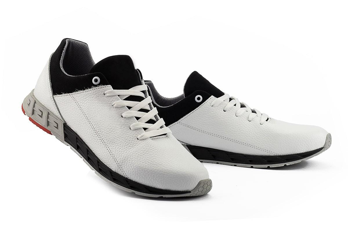 Чоловічі кросівки шкіряні весна/осінь білі-чорні CrosSAV 39 Sport