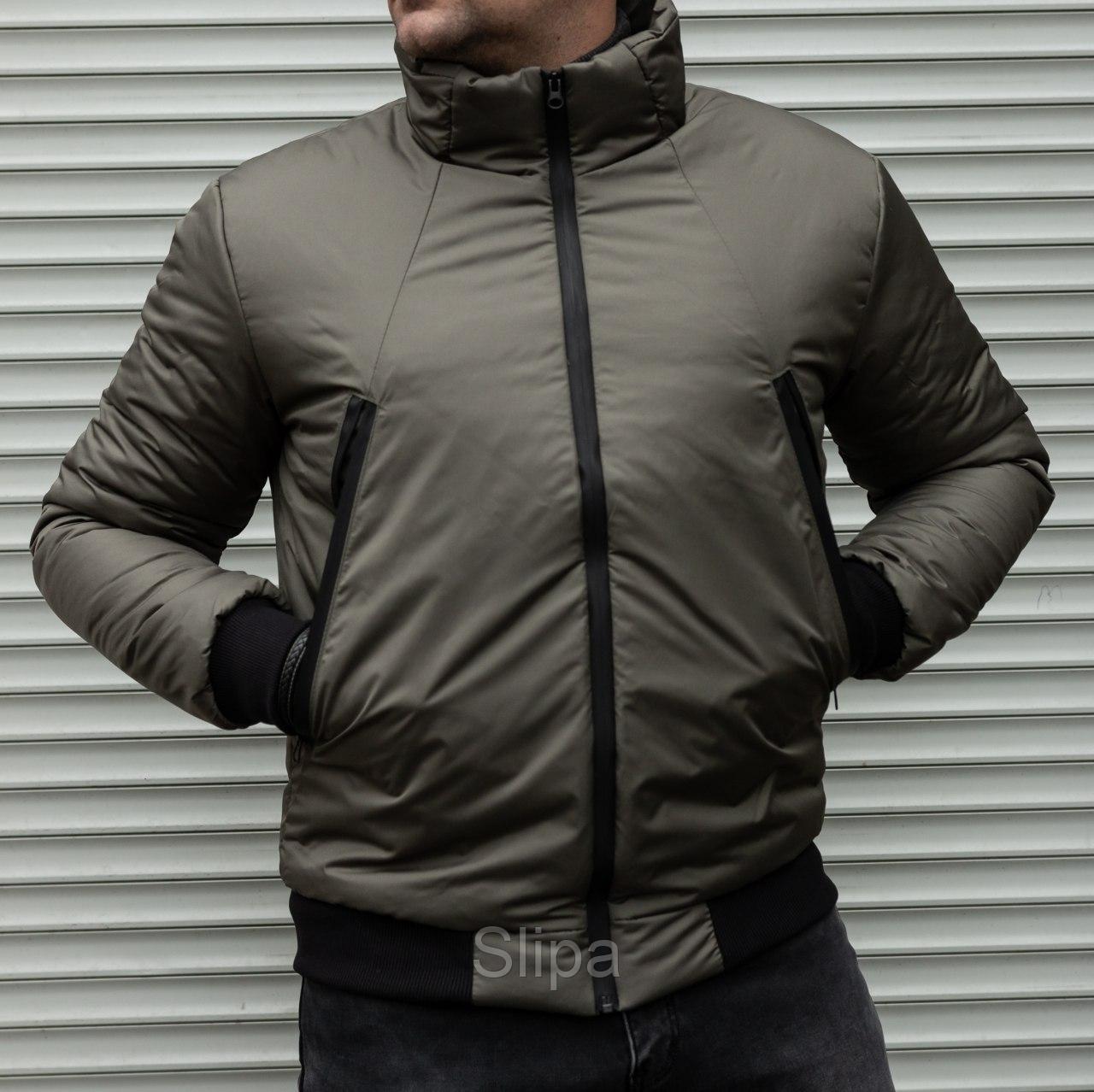 Мужская утепленная куртка бомбер хаки