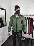 Мужская утепленная куртка бомбер хаки, фото 2