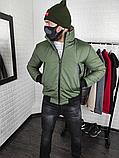 Мужская утепленная куртка бомбер хаки, фото 4