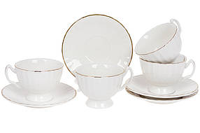 Фарфоровый чайный набор на четыре персоны Вивьен: чашка 200 мл (4 шт) и блюдце с золотым кантом (4шт) 993-411