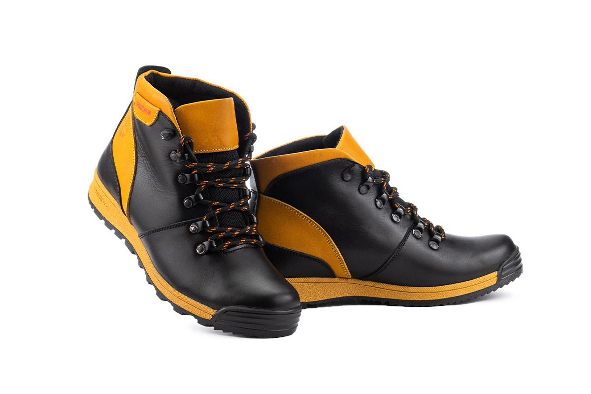 Підліткові черевики шкіряні зимові чорні-руді Brand T2