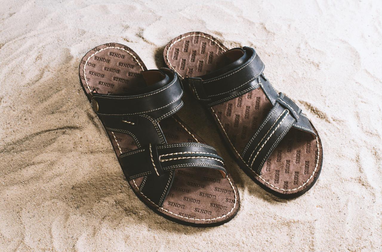 Мужские сандали кожаные летние черные Bonis Original 25