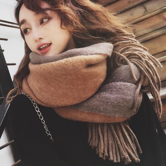 Великий товстий шарф двусторонній коричневий 55*200 см