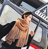 Великий товстий шарф двусторонній коричневий 55*200 см, фото 2