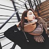 Великий товстий шарф двусторонній коричневий 55*200 см, фото 3
