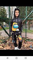 Спортивный костюм для мальчика на 6-10 лет черного с капюшоном цвета Амонг Аг оптом
