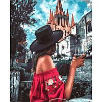 """Картина по номерам. Rainbow Art """"Девушка в черной шляпе"""" GX32985-RA"""